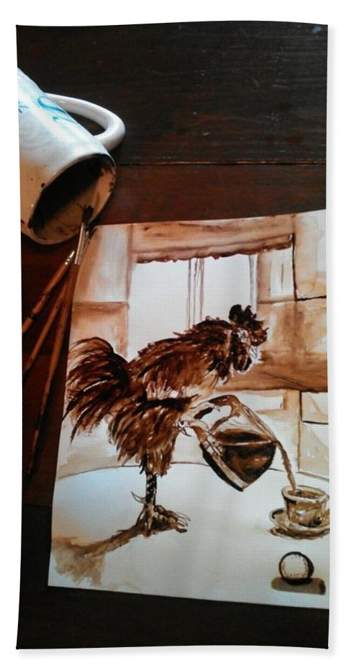 Rooster Beach Sheet featuring the painting Wake Up Call by Nathanael Manzer