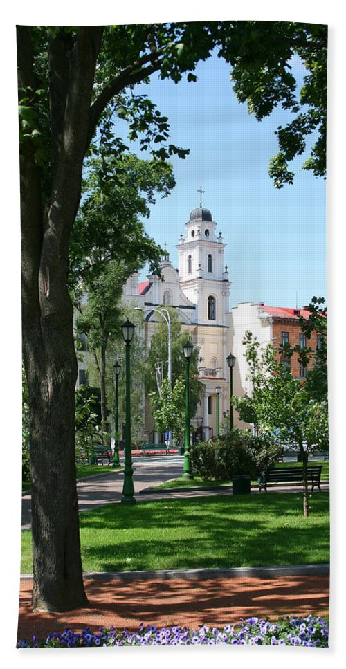 Park City Tree Trees Flowers Church Building Summer Blue Sky Green Walk Bench Beach Towel featuring the photograph Walk In The Park by Andrei Shliakhau