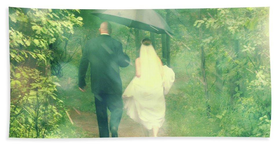 Walking Beach Towel featuring the photograph Walk In The Rain by Joel Witmeyer