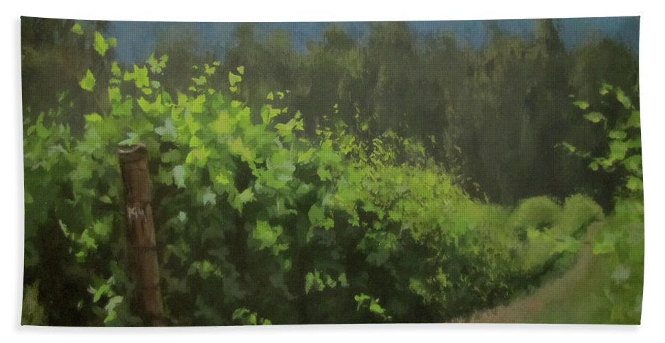 Landscape Beach Towel featuring the painting Walk In The Vineyard by Karen Ilari