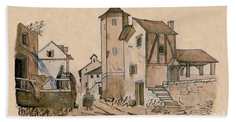 A Walk Through Town Beach Towel featuring the painting Walk Through Town Classic by Donna Munro