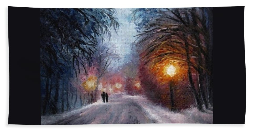 Winter Night Beach Towel featuring the painting Walk together aceo painting by Natalja Picugina