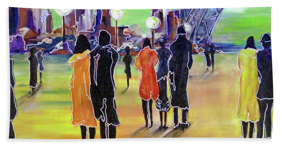 Cityscape Beach Towel featuring the painting Walking In Paris by Cheryl Ehlers