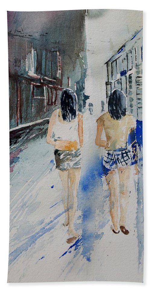 Girl Beach Towel featuring the painting Walking In The Street by Pol Ledent