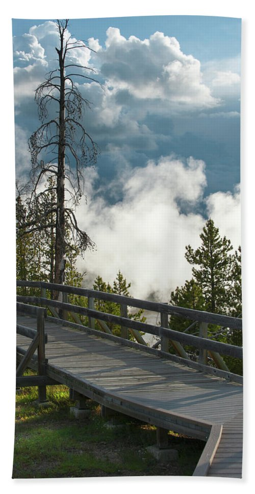 Yellowstone National Park Beach Towel featuring the photograph Walking Into The Unknown by Sandra Bronstein