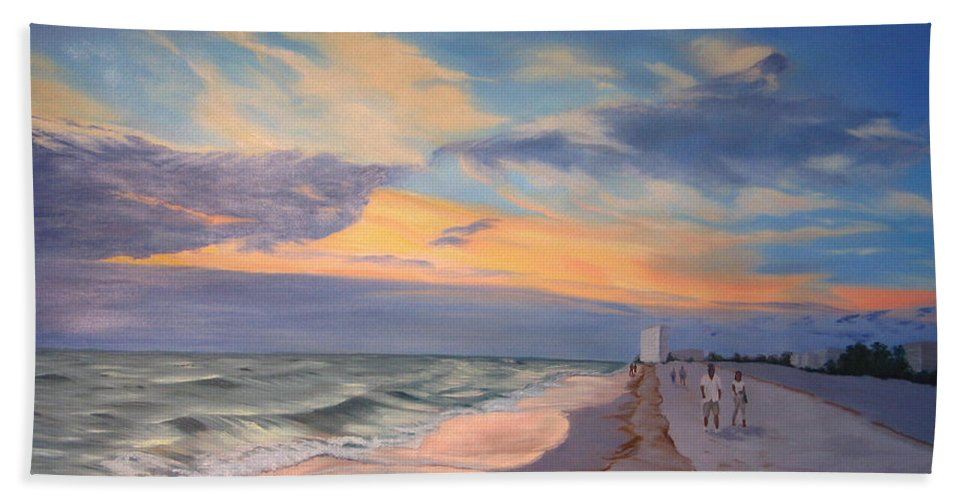 Seascape Beach Sheet featuring the painting Walking On The Beach At Sunset by Lea Novak