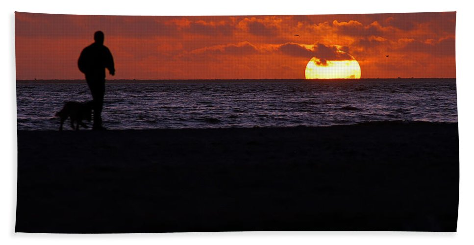 Clay Beach Sheet featuring the photograph Walking The Dog by Clayton Bruster