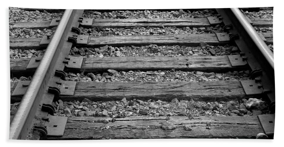 Railroad Beach Towel featuring the photograph Walking The Track by Betty Northcutt
