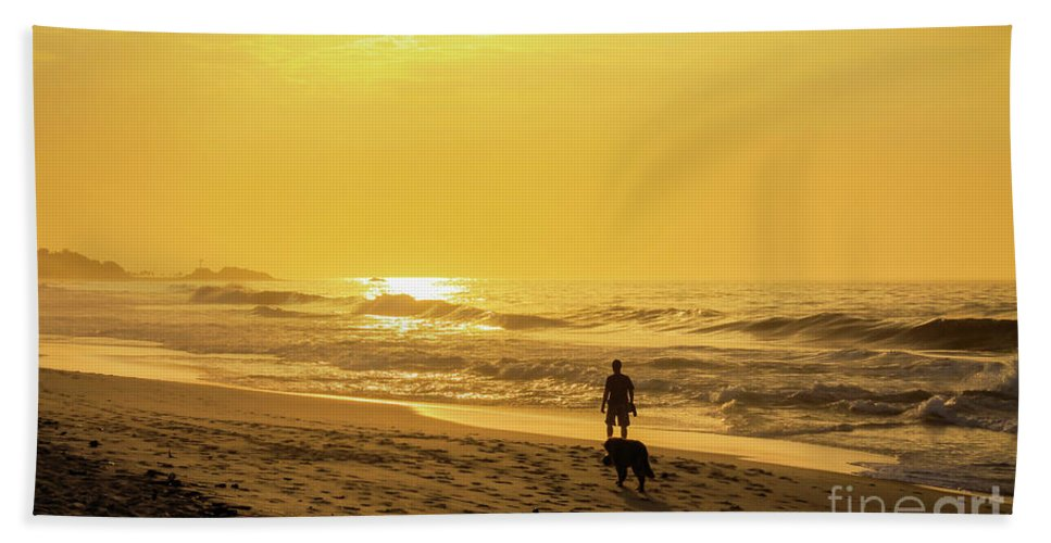 Sand Beach Towel featuring the photograph Walking With My Best Friend by Mao Lopez