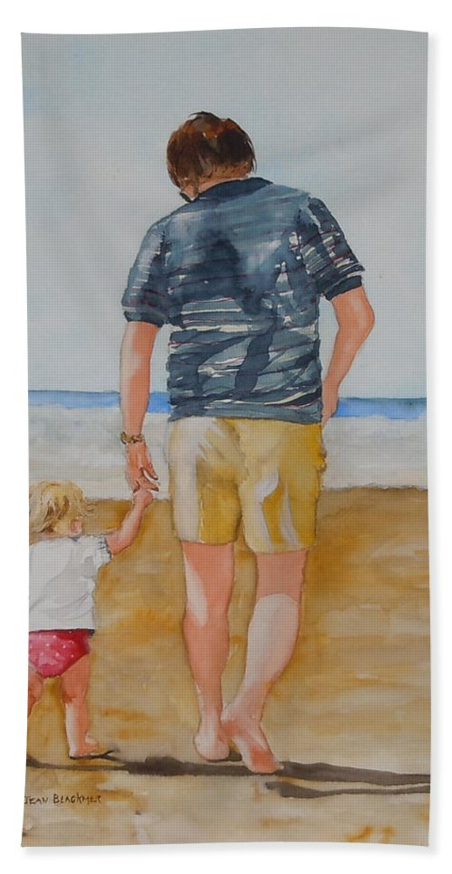 Beach Beach Towel featuring the painting Walking With Pops by Jean Blackmer