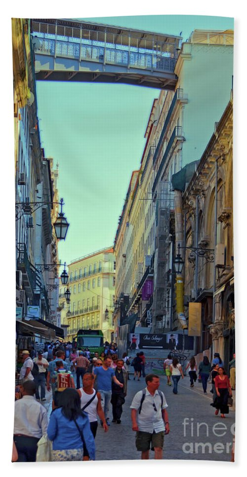 Lisbon Beach Towel featuring the photograph Walkway Over The Street - Lisbon by Mary Machare