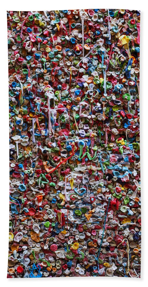Chewing Gum Beach Towel featuring the photograph Wall Of Chewing Gum Seattle by Garry Gay