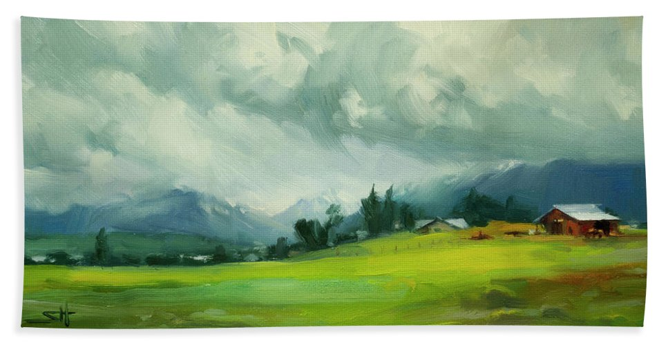 Country Beach Towel featuring the painting Wallowa Valley Storm by Steve Henderson