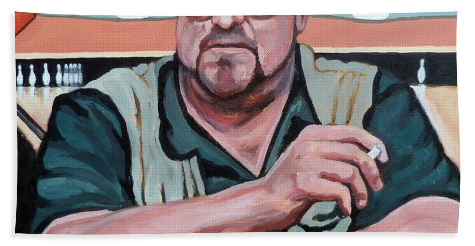 The Dude Beach Towel featuring the painting Walter Sobchak by Tom Roderick