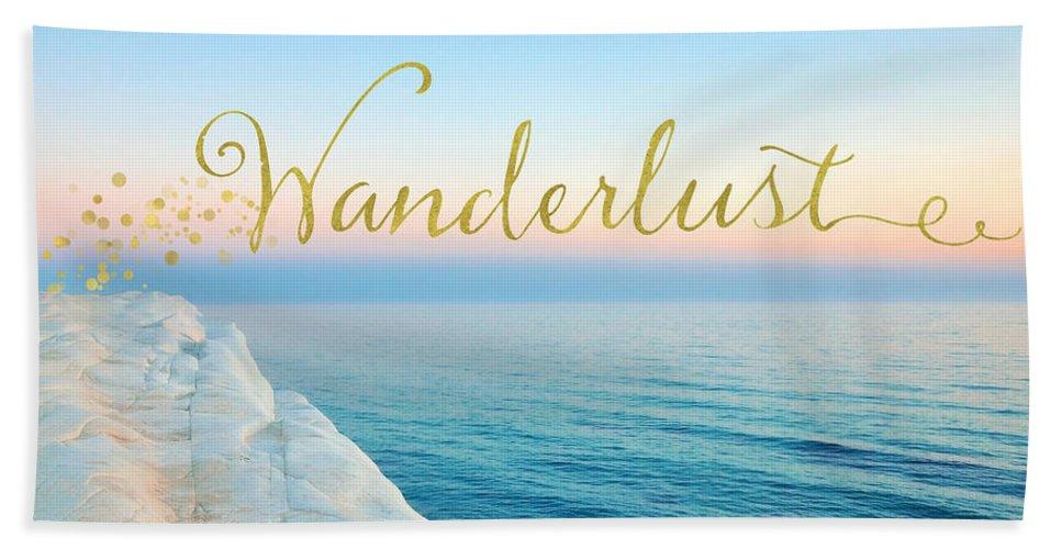 Wander Beach Towel featuring the mixed media Wanderlust, Santorini Greece Ocean Coastal Sentiment Art by Tina Lavoie