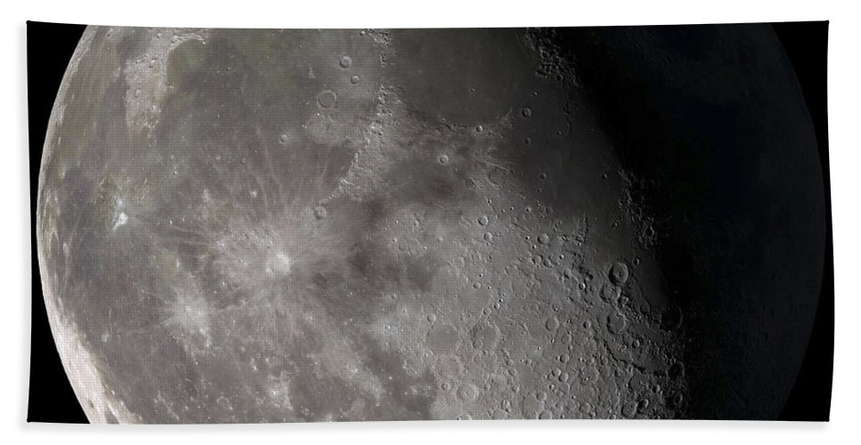 Gibbous Moon Beach Towel featuring the photograph Waning Gibbous Moon by Stocktrek Images