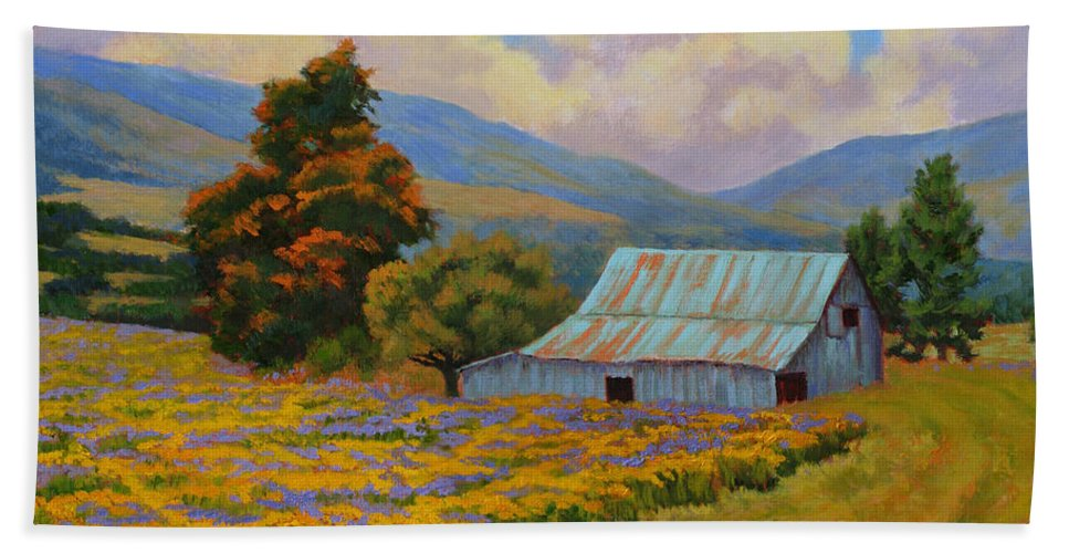 Landscape Beach Towel featuring the painting Waning Summer by Keith Burgess
