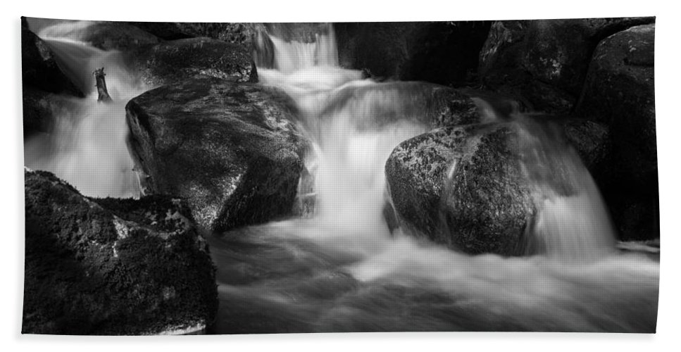 Water Beach Towel featuring the photograph Warme Bode, Harz - Monochrome Version by Andreas Levi