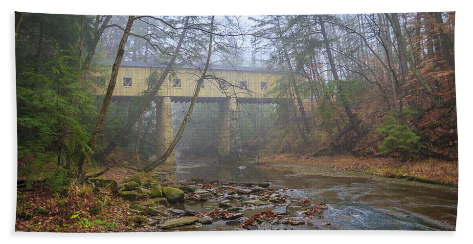 Ohio Beach Towel featuring the photograph Warner Hollow Rd Covered Bridge by Jack R Perry