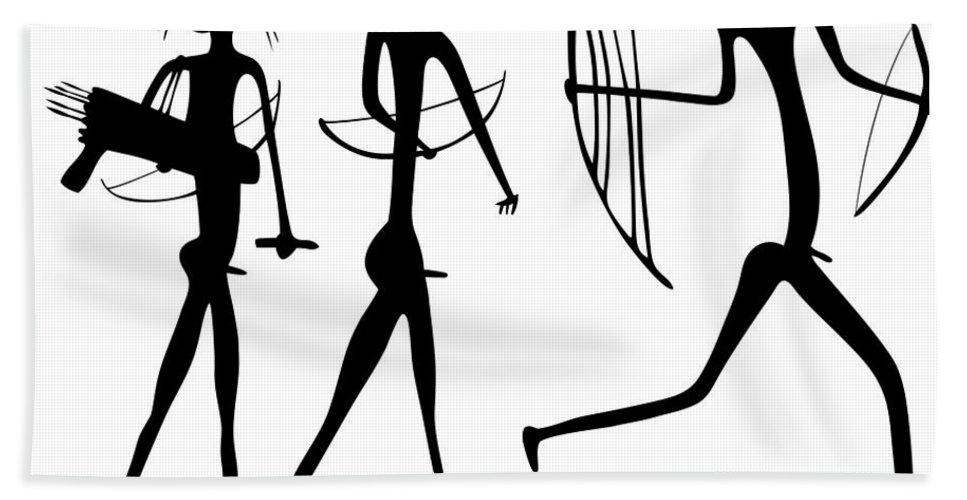 Savage Beach Towel featuring the drawing Warriors - Primitive Art by Michal Boubin