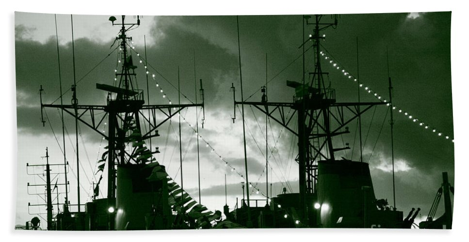 Antenna Beach Sheet featuring the photograph Warships At Twilight by Gaspar Avila