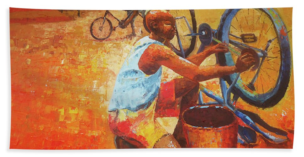 Figure Beach Towel featuring the painting Washing My Bike by Lawani Sunday