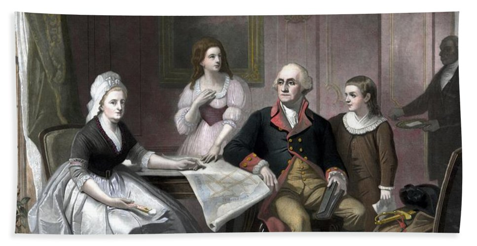 George Washington Beach Towel featuring the painting Washington And His Family by War Is Hell Store
