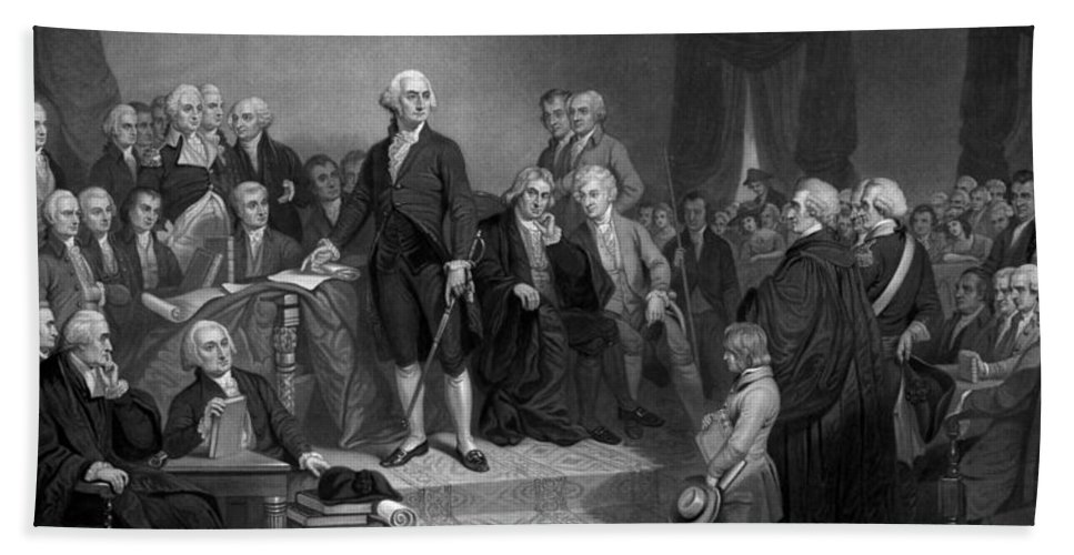 George Washington Beach Towel featuring the drawing Washington Delivering His Inaugural Address by War Is Hell Store