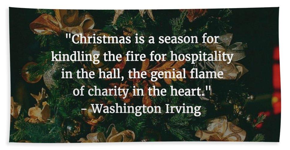 Washington Irving Beach Towel featuring the photograph Washington Irving Quote by Matt Create