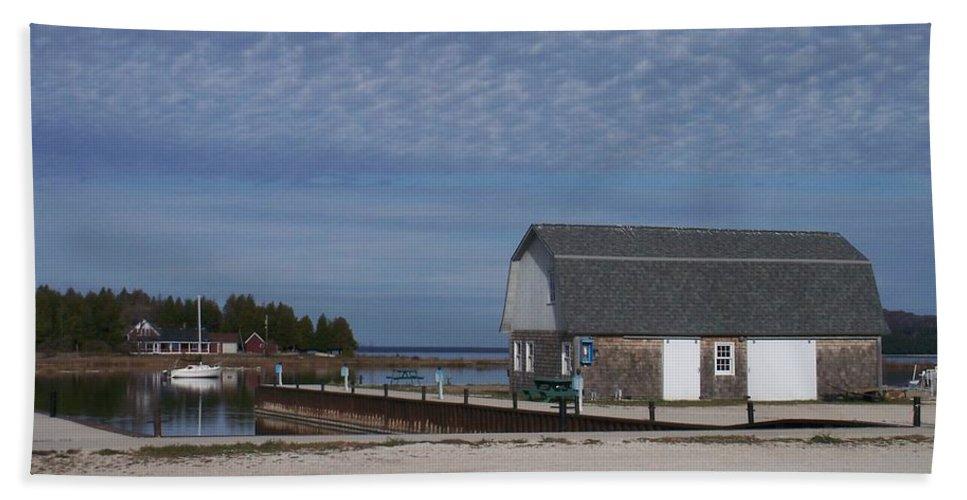 Washington Island Beach Towel featuring the photograph Washington Island Harbor 1 by Anita Burgermeister