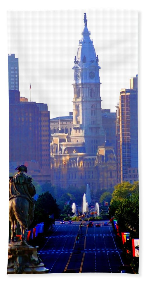 Philadelphia Beach Towel featuring the photograph Washington Looking Over To City Hall by Bill Cannon