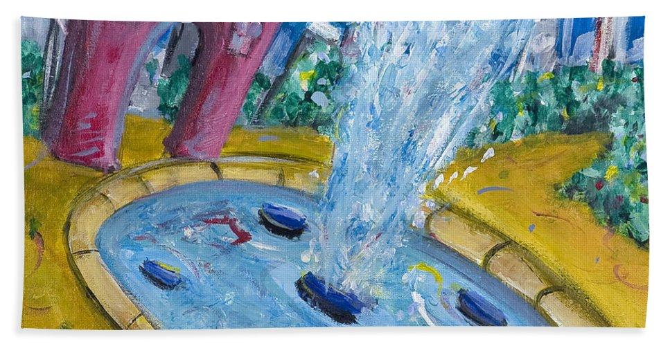 New York City Manhattan Washington Sqaure Park Beach Towel featuring the painting Washington Sqaure Park by Jason Gluskin