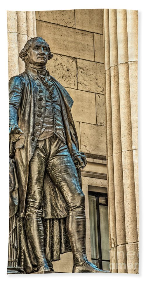 American Flag Beach Towel featuring the photograph Washington Statue - Federal Hall #1 by Julian Starks