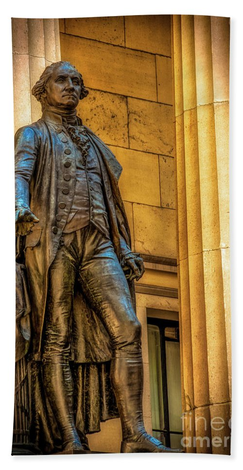 American Flag Beach Towel featuring the photograph Washington Statue - Federal Hall #2 by Julian Starks