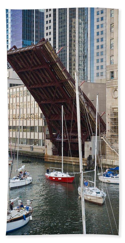 Chicago Beach Towel featuring the photograph Washington Street Bridge Lift Chicago by Steve Gadomski