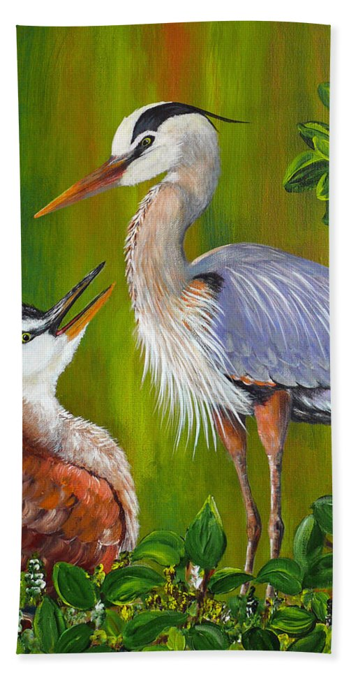 Great Blue Heron Beach Towel featuring the painting Watching Over Junior by Dee Carpenter