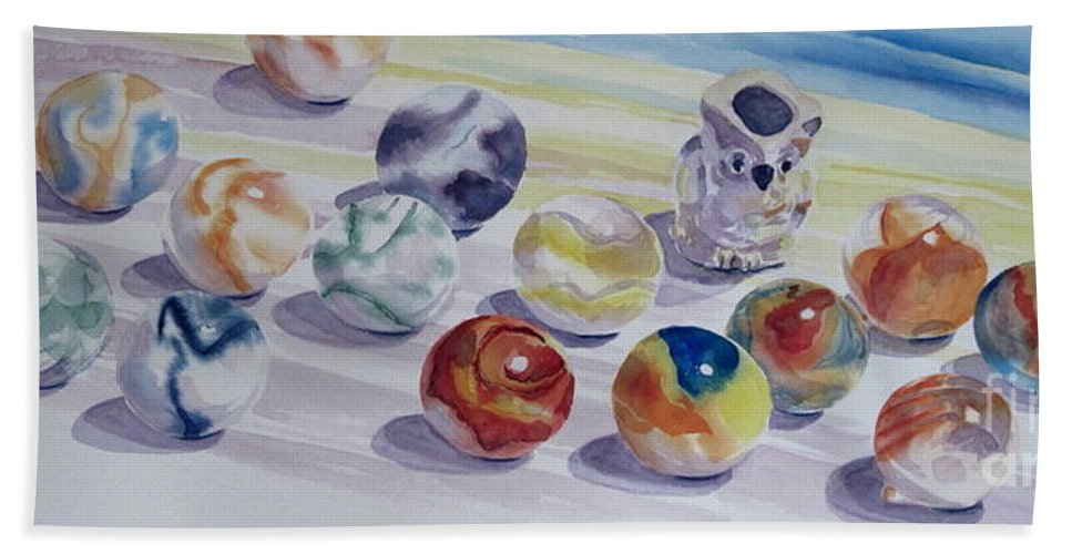 Glass Beach Towel featuring the painting Watching Over My Marbles by Karen Boudreaux