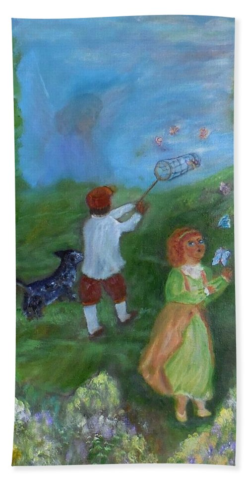 Landscape Beach Towel featuring the painting Watching Over The Children by Karen Lipek