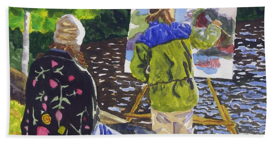Artist Beach Towel featuring the painting Watching the Maestro by Sharon E Allen