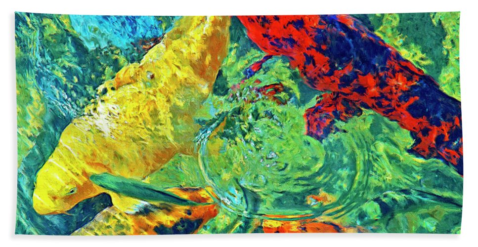 Koi Beach Towel featuring the painting Water Ballet by Dominic Piperata