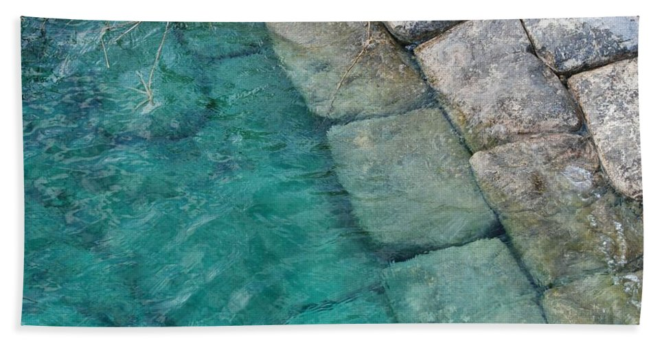 Water Blocks Bricks Beach Towel featuring the photograph Water Blocks by Rob Hans
