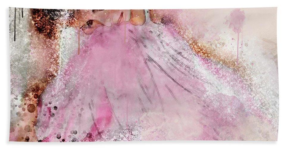 Ballerina Beach Towel featuring the digital art Water Colour Ballerina by Jim Hatch
