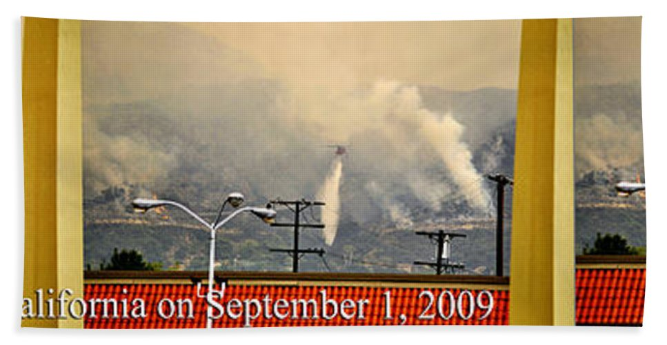 Clay Beach Towel featuring the photograph Water Drop On The Station Fire by Clayton Bruster