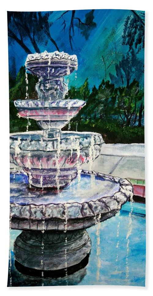 Acrylic Beach Towel featuring the painting Water Fountain Acrylic Painting Art Print by Derek Mccrea