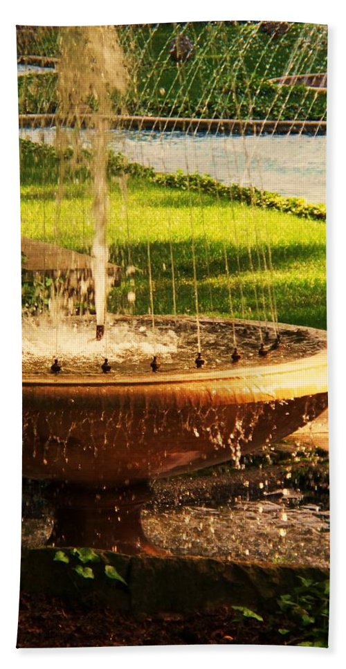 Landscape Beach Towel featuring the photograph Water Fountain Garden by Eric Schiabor