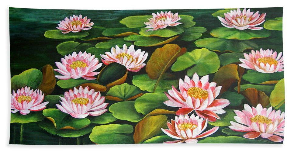 Floral Beach Towel featuring the painting Water Lilies by Dominica Alcantara