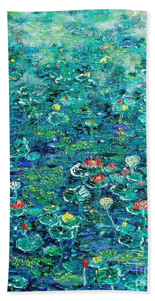 Water Lily Paintings Beach Towel featuring the painting Water Lilies Lily Pad Lotus Water Lily Paintings by Seon-Jeong Kim
