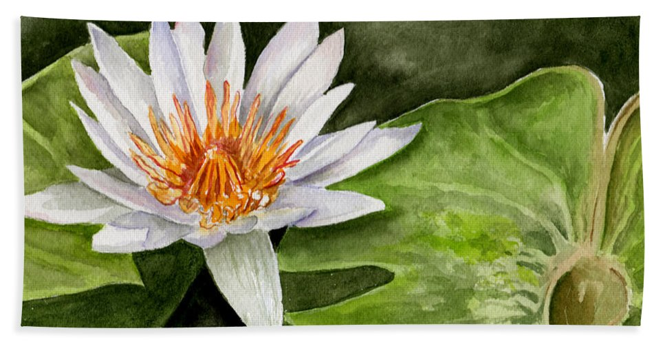 Flower Floral Water Lily Watercolor Beach Towel featuring the painting Water Lily by Brenda Owen