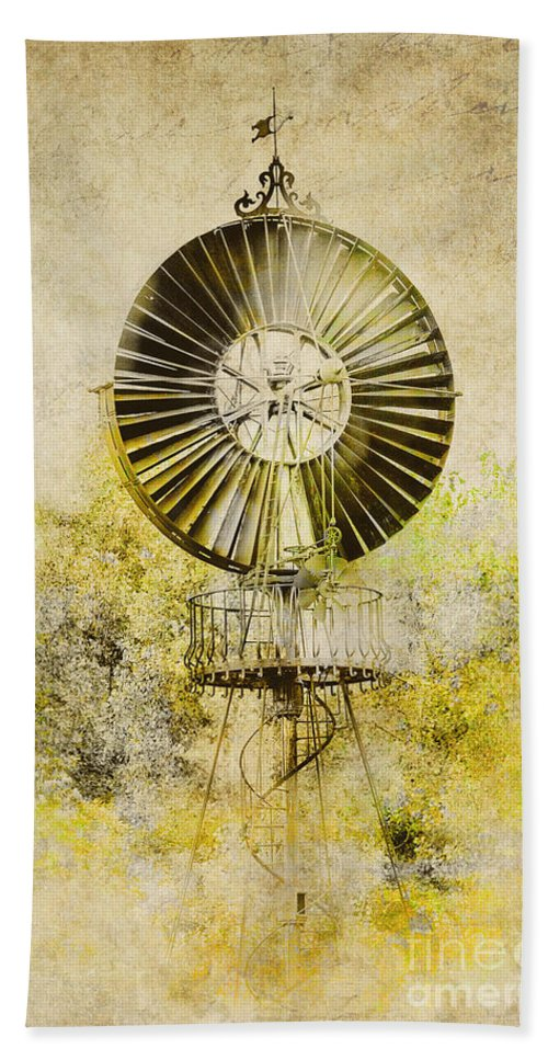 Wind Power Beach Towel featuring the photograph Water-pumping Windmill by Heiko Koehrer-Wagner