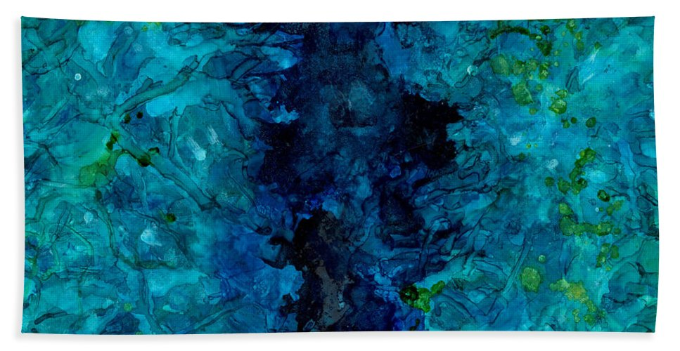 Alcoholink Beach Towel featuring the painting Water Ravine by Cathlyn Driscoll